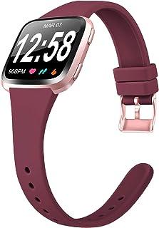 Amzpas Compatible con Fitbit Versa Correa/Fitbit Versa Lite Correa, Banda Inteligente de Repuesto de Silicona Suave, Delgada, Delgada y pequeña para Fitbit Versa