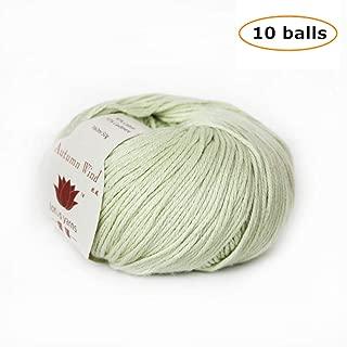 Lotus Yarns 10X50g Balls Autumn Wind Cashmere Hand Knitting/Crochet Yarn for Fashion Garments Baby Clothing … (Celery)