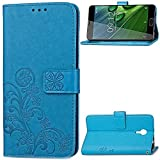 pinlu Schutzhülle Für Acer Liquid Z6 Plus (5.5 Zoll) Handyhülle Hohe Qualität PU Ledertasche Brieftasche Mit Stand Function Innenschlitzen Design Glücklich Klee Muster Blau