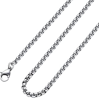 2-7mm 16-38In Square Rolo Stainless Steel Chain Necklace Round Box Necklace Men Women Jewellery