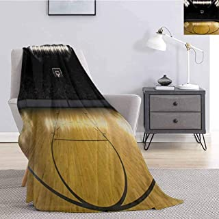 Luoiaax Teen Room Fluffy Blanket Microfiber Empty Basketball Arena Competition Game Winner Champion Success Theme Soft Warm Plush Blanket W60 x L80 Inch Pale Coffee Black