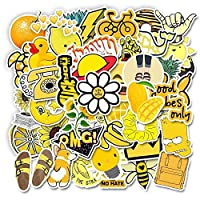 MAODING 20のスタイルVscoステッカー物事50 PCSピンク蓄冷器ガールステッカーノートパソコンの電話冷蔵庫スケートスーツケースステッカーのために (Colore : 50pcs yellow)
