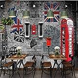 MUMUWUSG Fotomurales Decorativos Pared Vinilos Decorativos Papel Fotografico 3D Cabina Telefónica Retro Europea Y Americana De Londres Papel Pintado Cuadros Habitacion Posters Mural Pared