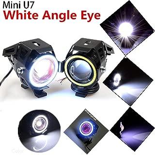 2Pcs Mini U7 Angel Eyes Light 125W Motorcycle Headlight LED Fog Spotlight+Switch White