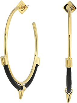 Vince Camuto Metal and Leather Hoop Earrings