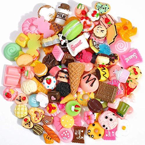 Lotto 100pcs colore misto Assort cute snack food cake Candy dolci fiore scrapbooking resina Flatback cabochon decorazione a mano di fascino Pasqua DIY Craft kit forniture