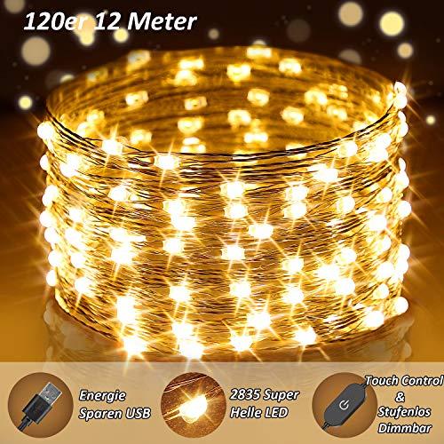 120er LED Lichterkette Warmweiß, 12M USB Lichterkette Dimmbar Draht mit Schalter, Extra Hell 2835 LED Stimmungslichter Berührungssteuerung, Wasserfest IP65 Fairy Lights für Weihnachtsbaum,Kinderzimmer