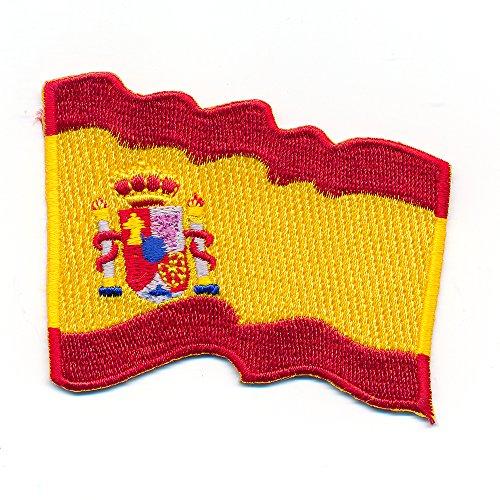 hegibaer 30 x 25 mm Wehende Spanien Flagge Spain Barcelona Aufnäher Aufbügler 1081 Mini