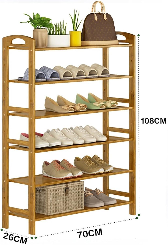 shoes Bench Organizing Rack Natural Bamboo shoes Rack six-Layer Unit Shelf Simple Storage Shelf (Size   70  26  108cm)