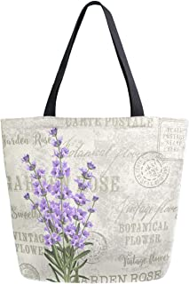 ZzWwR Trendy Vintage Lavender Flowers Print Extra Large Canvas Market Beach Travel Reusable Grocery Shopping Tote Bag Port...