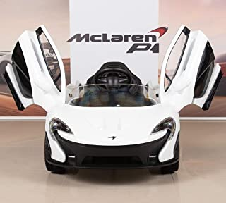 BIG TOYS DIRECT McLaren P1 Kids 12V Battery Operated Ride On Car with Remote Control, Leather Seat - White