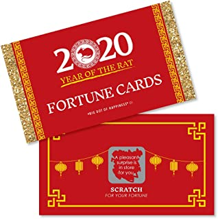 Big Dot of Happiness Chinese New Year - 2020 Year of the Rat Party Scratch Off Fortune Cards - 22 Count