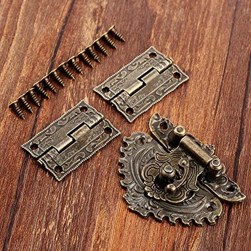 AIGUO Antique Bronze Hardware, Jewelry Box Hasp Lock 50×56mm (1.97×2.20in) + 2 Pcs Decorative Cabinet Door Jewelry Box Hinge 35×23mm/1.38×0.91in