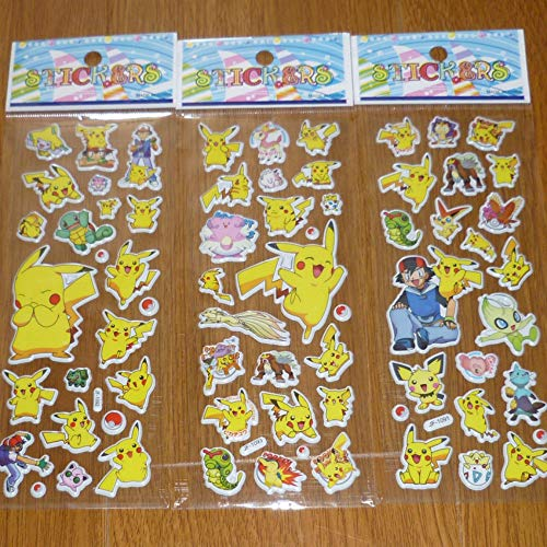 Lanseede Pokemon Pikachu 3D Puffy Stickers Kinder Aufkleber für Mädchen 12 Verschiedene Blätter 250+ Geschwollen Stickers zum Thema Pikachu Mitgebsel Kindergeburtstag und Gastgeschenke