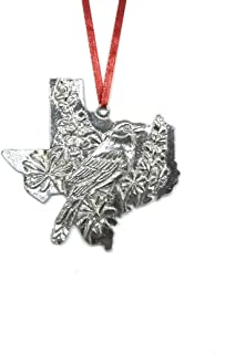 Texas TX State Outline Symbols Holiday Christmas Ornament Pewter