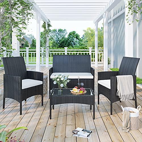 hengweiuk Juego de 4 muebles de jardín de ratán con mesa y sillas, sofá para patio, piscina, exterior, balcón