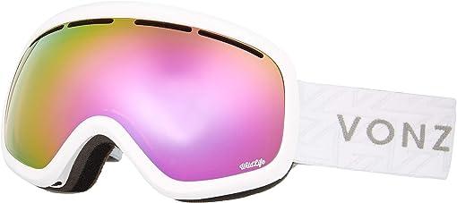 White Gloss/Wild Pink Chrome Lens