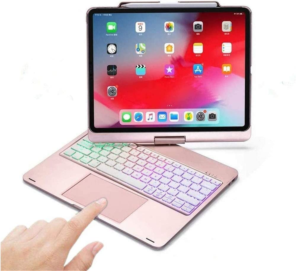 360 Rotatable iPad Pro 12.9 2021 Keyboard Case with Touchpad,(5th Generation) Backlits Bluetooth Keyboard Flip Smart Cover with Pencil Holder for12.9 2021 (Rose Gold-360 Rotate)