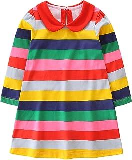 lymanchi Kid Girl Christmas Dress Cotton Printed Striped Casual Cute Tunic Shirt