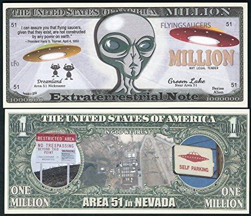 Amazon.com: Nota extraterrestre extraterrestre Alien, Área 51 millones de  dólares de la novedad (Lote de 2 billetes) : Todo lo demás