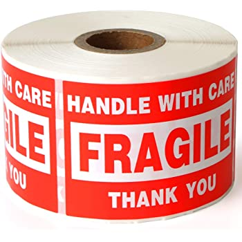 """Fragile 2""""x3"""" Handle with Care Shipping Stickers, 500 Labels Per Roll"""