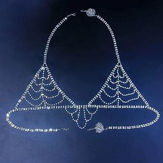 IYOU Cristal Plata Cadena de Sujetador Brillante Diamante de imitación Borla Pecho Cadenas Brillante Diamante Club nocturn...