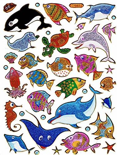 Fische Zierfische Aquarium Delphin Rochen Aufkleber 30-teilig 1 Blatt 135 mm x 100 mm Sticker Basteln Kinder Party Metallic-Look