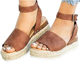 3dfd326953 Athlefit Women's Platform Sandals Espadrille Wedge Ankle Strap Studded Open  Toe Sandals
