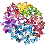 SmartWallStation 84 x PCS 3D Colorful Butterfly Wall Stickers DIY Art Decor Crafts for Party Cosplay Wedding Offices Bedroom Room Magnets Glue Sticker Set