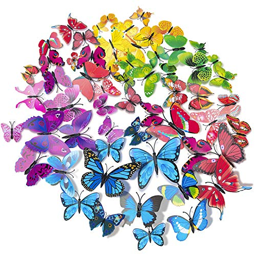 84 x PCS 3D Colorful Butterfly Wall Stickers DIY Art Decor Crafts for Party Cosplay Wedding Offices Bedroom Living Room Magnets and Glue Sticker Set