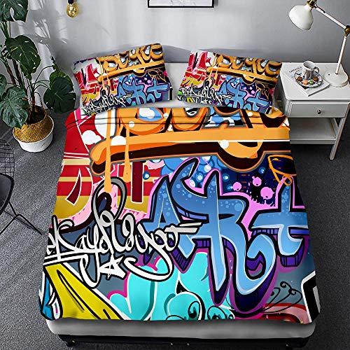 Fansu Arte dei Graffiti Set Copripiumino con Cerniera Chiusura e Federa per Letto Singolo Matrimoniale King, Set di Biancheria da Letto di 3D Arti visive (220x240cm,Doodle di Musica)