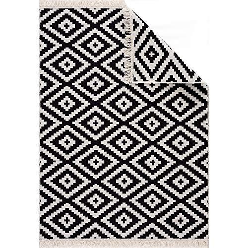 Fashion4Home Teppich Läufer - Tepiche für Wohnzimmer, Schlafzimmer, Küche, Kinderzimmer, Badezimmer - Boho Kelim Teppiche - Läufer Flur Teppich Weiß-Schwarz, Größe: 80x150 cm