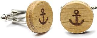 Gemelli in legno di faggio Anchor (Ancora). Collezione moda uomo: bottoni di camicia in noce fatti a mano. Matrimonio e ce...