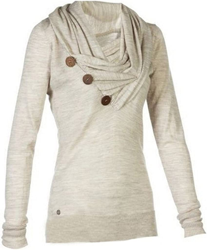 Merryfun Women's Sport Casual Long Sleeve Knitted Draped Button Blouse Top