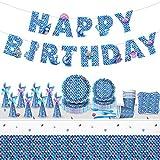 Set di stoviglie per feste di compleanno per bambini, 8 ospiti, 78 pezzi a sirena, accesso...