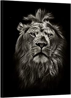 iKNOW FOTO Graphic Black and White Lion Portrait Canvas Prints Wall Art Stretched Wood Frame BaW Animal Canvas Pictures for Living Room Decoration Vertical Ready to Hang 24x32inch