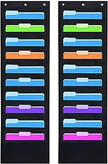 2 Pack Hanging File Holder Organizer Rack, 10 Pocket File Folder, Wall Mounted, Heavy Duty 6 Hooks, Storage Letter, Key Holder, Filing, Classroom Book, Living Room Hair Care, Decorative Cabinet Closet