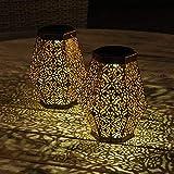 Gadgy Solarlaterne für Außen Hexagon | Set mit 2 Stück | Solar Laterne für Aussen | Outdoor LED Gartenleuchte | Kupferfarbenes Metall | Orientalische Garten Dekoration