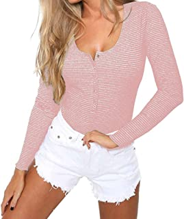 Sponsored Ad - GEMBERA Women Long Sleeves Henley Neck Button Down Bodysuit Ribbed Knit Thong Basic Leotard Top