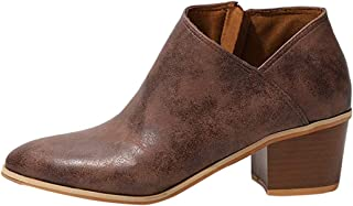 V-DOTE Chelsea Boots Women Vegan Leather Low Block Heeled