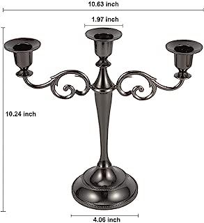 Perportu-min Candlestick Candlestick Holder 3-Armed Black Candelabra Candleholder Chandeliers Black 10.24 Inch Home Decoration 1SDSTTQ-1110-1R