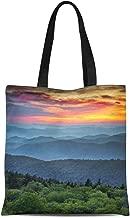 Semtomn Canvas Tote Bag Blue Ridge Parkway Scenic Landscape Appalachian Mountains Ridges Sunset Durable Reusable Shopping Shoulder Grocery Bag