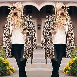 معطف طويل للنساء من إكستيوم معطف طويل من الفراء الصناعي بطباعة جلد الفهد بياقة مشقوقة طويلة الأكمام جاكيت باركا لباس خارجي