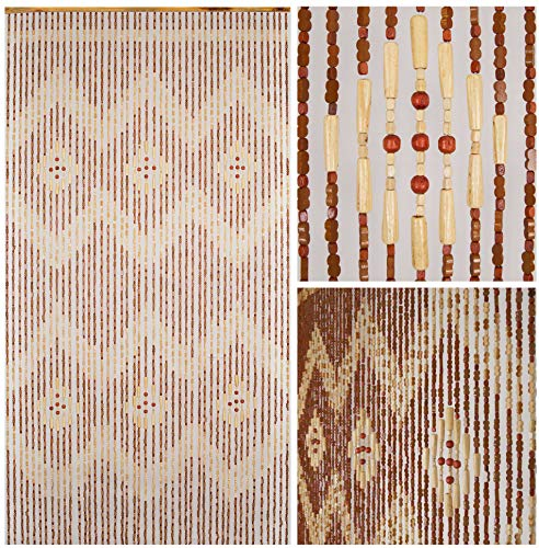 """BeadedString Natural Wood and Bamboo Beaded Curtain-45 Strands-77 High-Bamboo and Wooden Doorway Beads-Boho Bohemian Curtain-35.5"""" W x 77"""" H-Pride"""