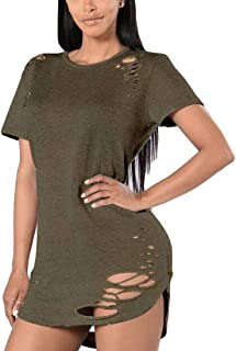 Domple Women Longline Ripped Distressed Short Sleeve Slim Fit T-Shirt Tops Blouse