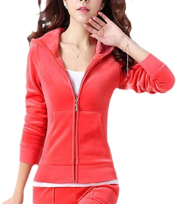 キャリッジパネル青女性2ピースセットベルベットジップアップフード付きスウェットシャツジョガーパンツトラックスーツ