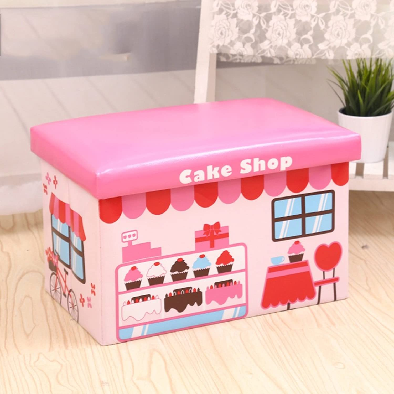 Xiaolin Storage Stool Can Sit Adult Storage Chair Storage Box Sofa Stool Can Take People Rectangular (color   Pink)