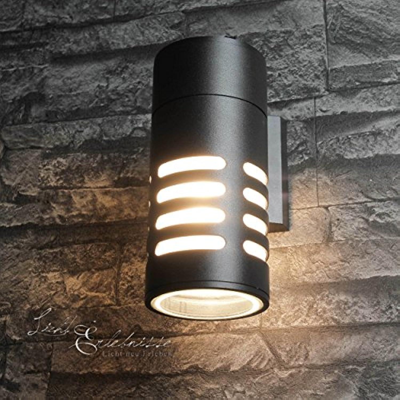 Moderne Wandleuchte in Anthrazit inkl. 1x 12W E27 LED 230V Wandlampe aus Aluminium & Glas für Garten Terrasse Garten Weg Terrasse Lampen Leuchte Beleuchtung