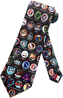 Museum Artifacts Mens NASA Space Mission Badges Necktie - Black - One Size Neck Tie