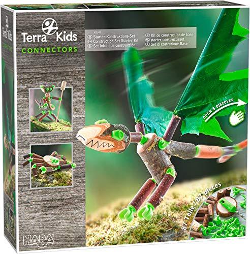 HABA 305341 - Terra Kids Connectors - Starter-Konstruktions-Set, Bastelset zum Bauen von Figuren für Kinder, Verbinder aus Kunststoff für Holz und Kork, mit Handbohrer und Anleitung
